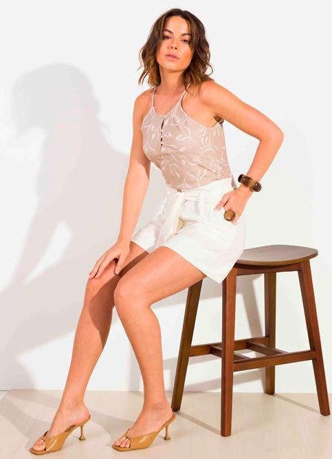 Shorts Dioxes feminino verão linho
