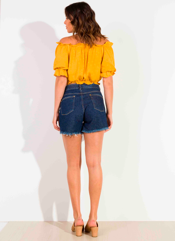 Shorts Dioxes Jeans feminino verão com cinto