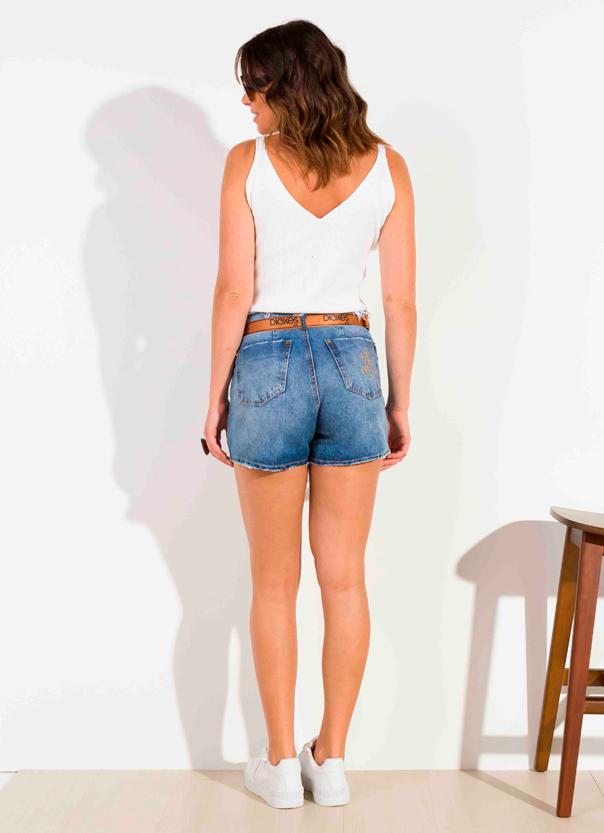 Shorts Dioxes Jeans feminino verão com cinto ocre