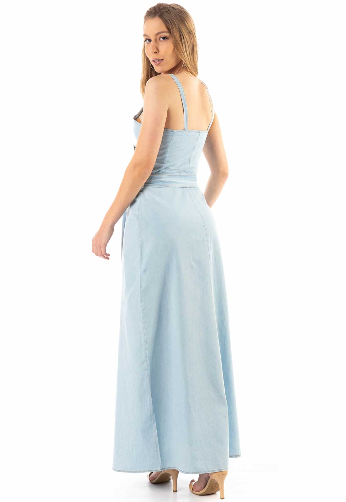 Vestido Dioxes Jeans Longo Azul Claro