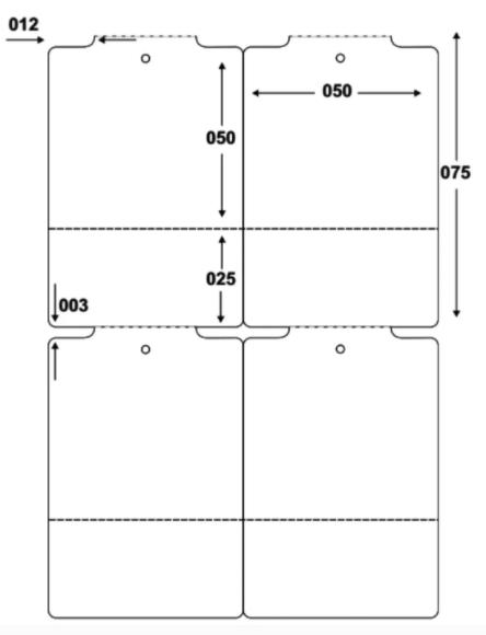 Etiqueta Tag Adesiva Couché 50x75 mm 2 Colunas (4 Rolos c/ 1.100 un. cada)