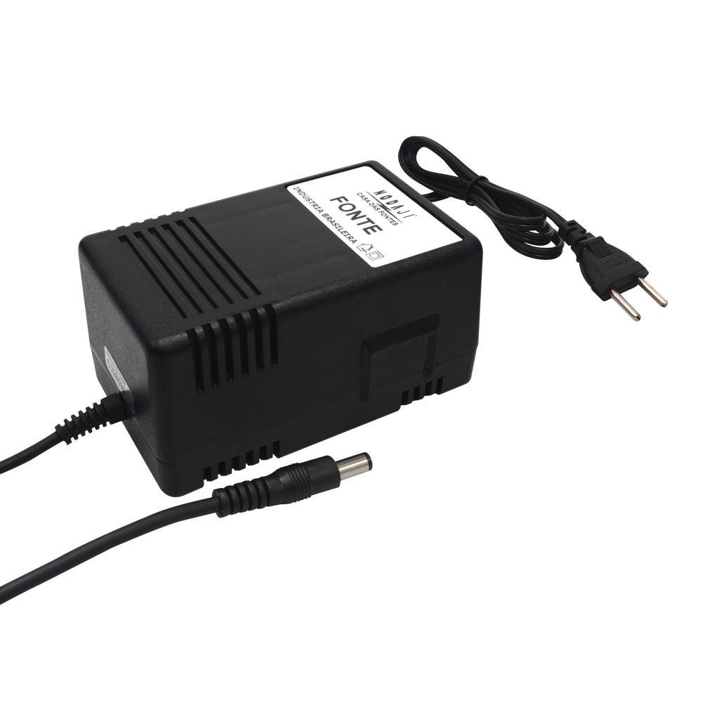 FONTE P/ CAM. CFTV - BIV. 24VAC 1,5A - PLUG P4 180G (5,5 X 2,1MM)