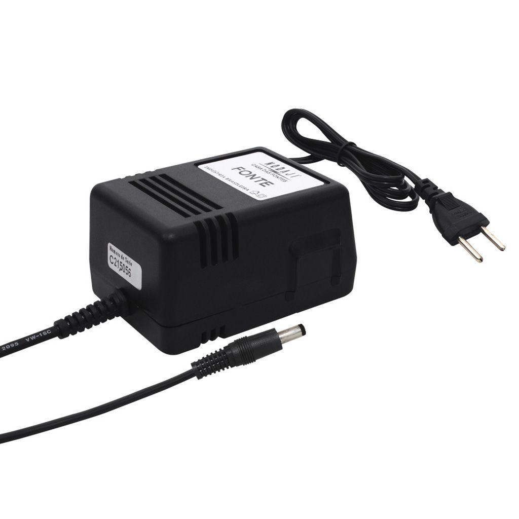 FONTE P/ MONIT. CFTV - BIV. 15VDC 1,2A - PLUG P4 180G (5,5 X 2,1MM) (+)