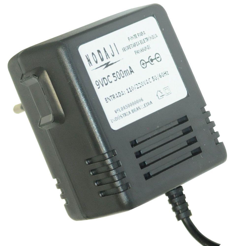 FONTE P/ SECRETARIA ELET. PANASONIC - BIV. 9VDC 500MA - PLUG P4 90º (5,5 X 2,1MM) (-)