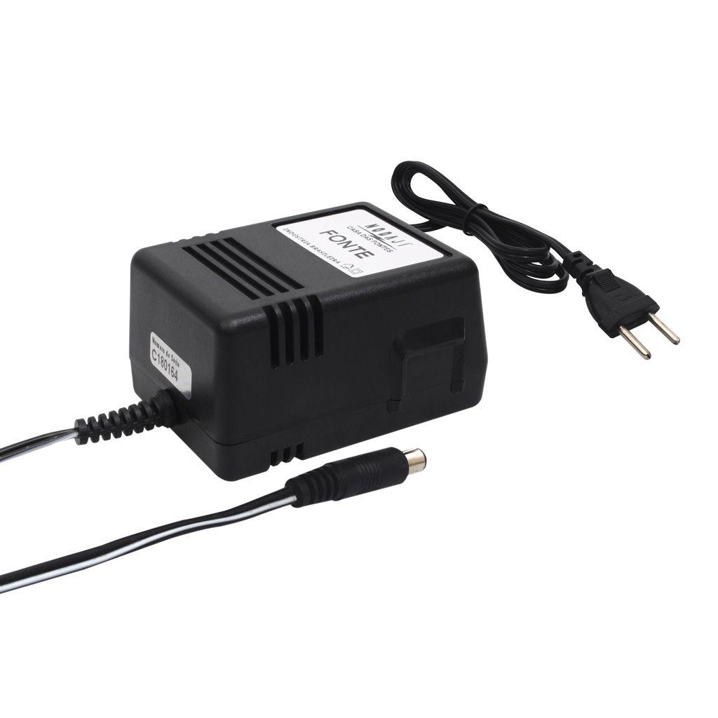 FONTE P/ TECLADO CASIO - BIV. 9VDC 2A - PLUG P4 180G (5,5 X 2,1MM) (-)