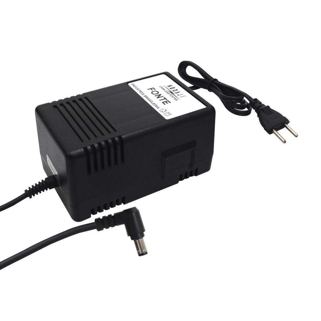 FONTE P/ TECLADO CASIO WK - BIV. 12VDC 1,7A - PLUG P4 CASIO 90º (5,5 X 1,4MM) (-)