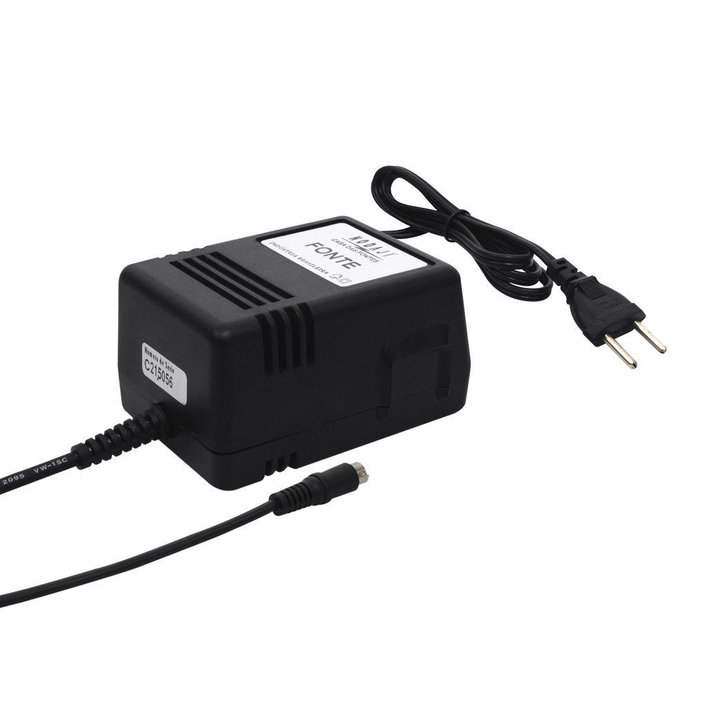 FONTE P/ TECLADO ROLAND - BIV. 12VDC 2A - PLUG P4 CASIO 180G (5,5 X 1,5MM) (-)