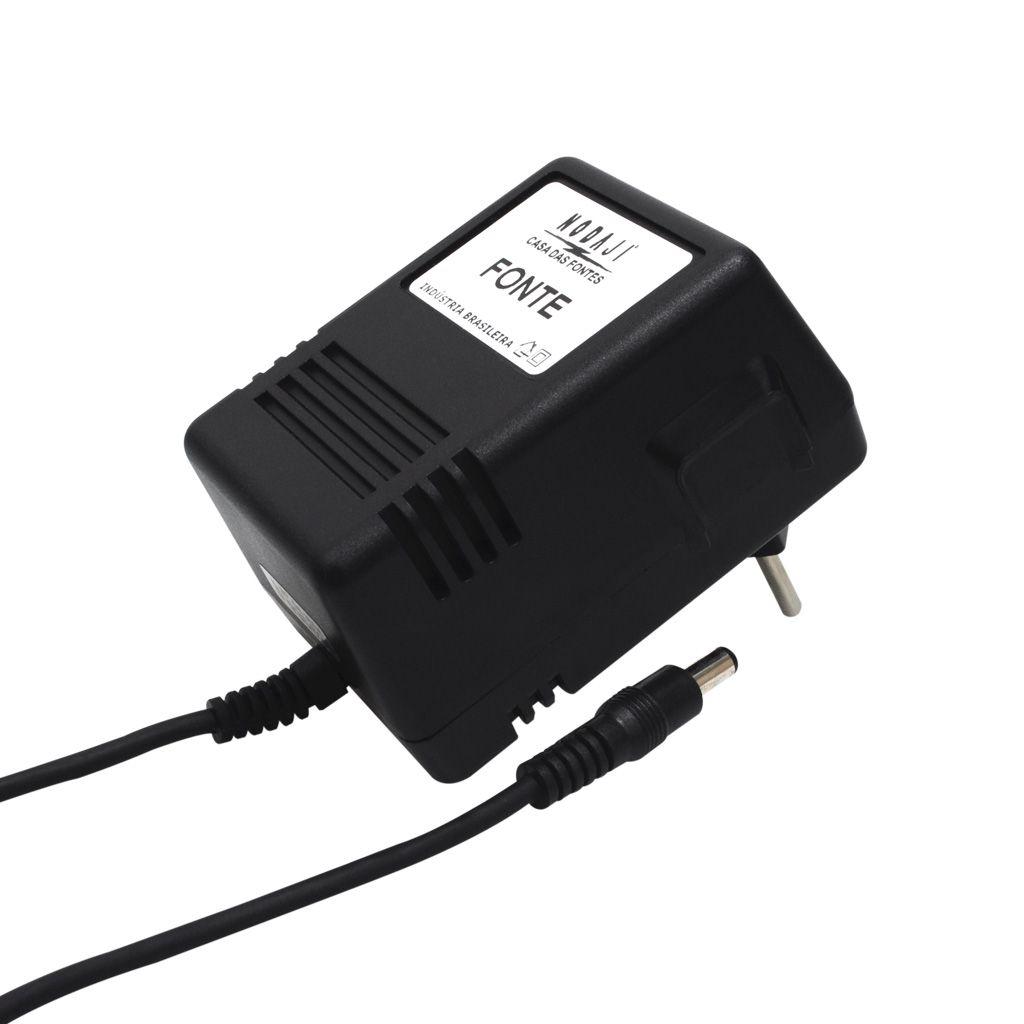 FONTE P/ TECLADO ROLAND - BIV. 9VDC 1,2A - PLUG P4 180G (5,5 X 2,1MM) (-)