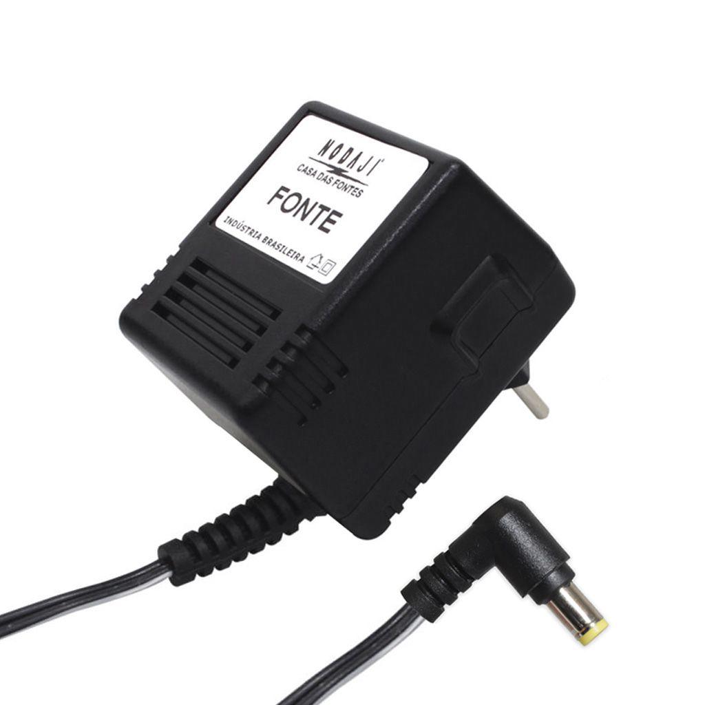 FONTE P/ TEL. S/ FIO GENTEX - BIV. 9VDC 450MA - PLUG P8 90º (5,5 X 2,5MM) (-)