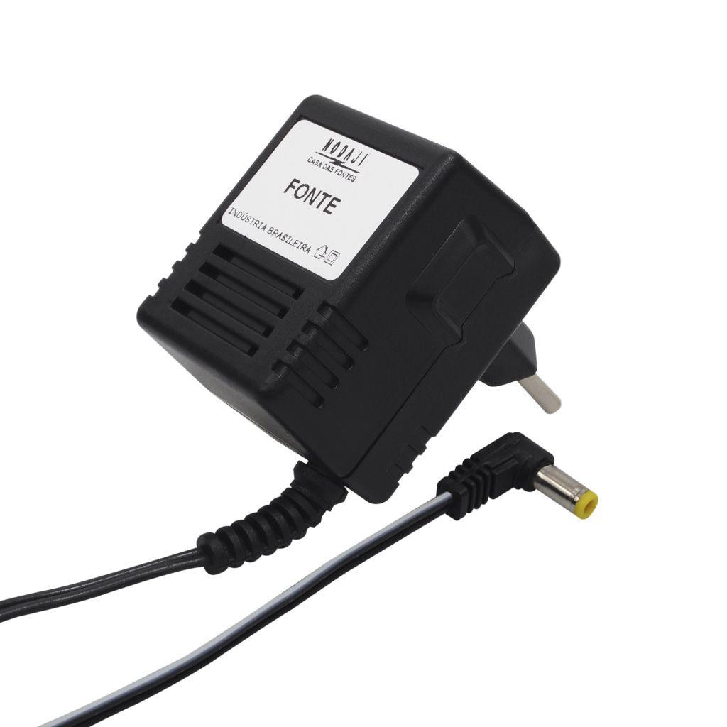 FONTE P/ TEL. S/ FIO PANASONIC PQLV19 - BIV. 6VDC 500MA - PLUG P4 90º (5,5 X 2,1MM) (-)