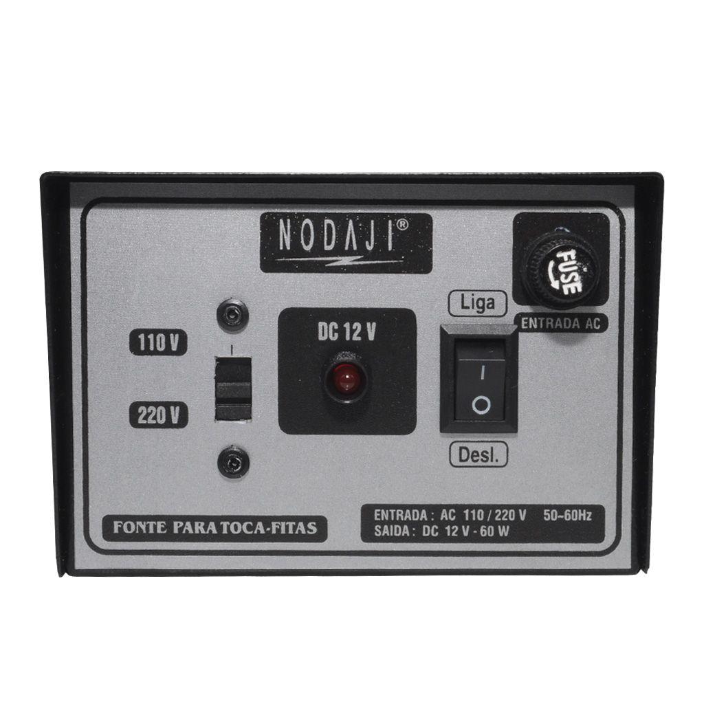 FONTE P/ TOCA-FITA - BIV. 12VDC 5A - C/ CIGARRETE FEMEA