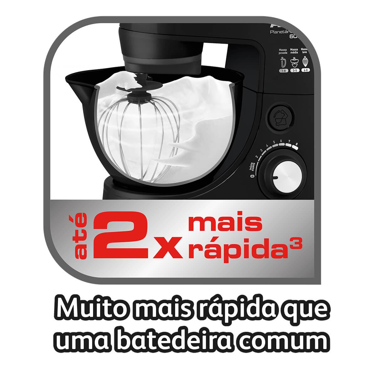 BATEDEIRA PLANETÁRIA ARNO DELUXE 2 TIGELAS - PRETA - SX31