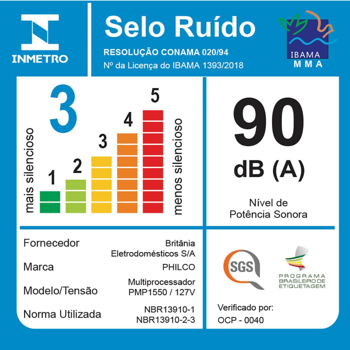 MULTIPROCESSADOR PHILCO PMP1550P PRO TURBO 6 EM 1 - PRETO - 127V