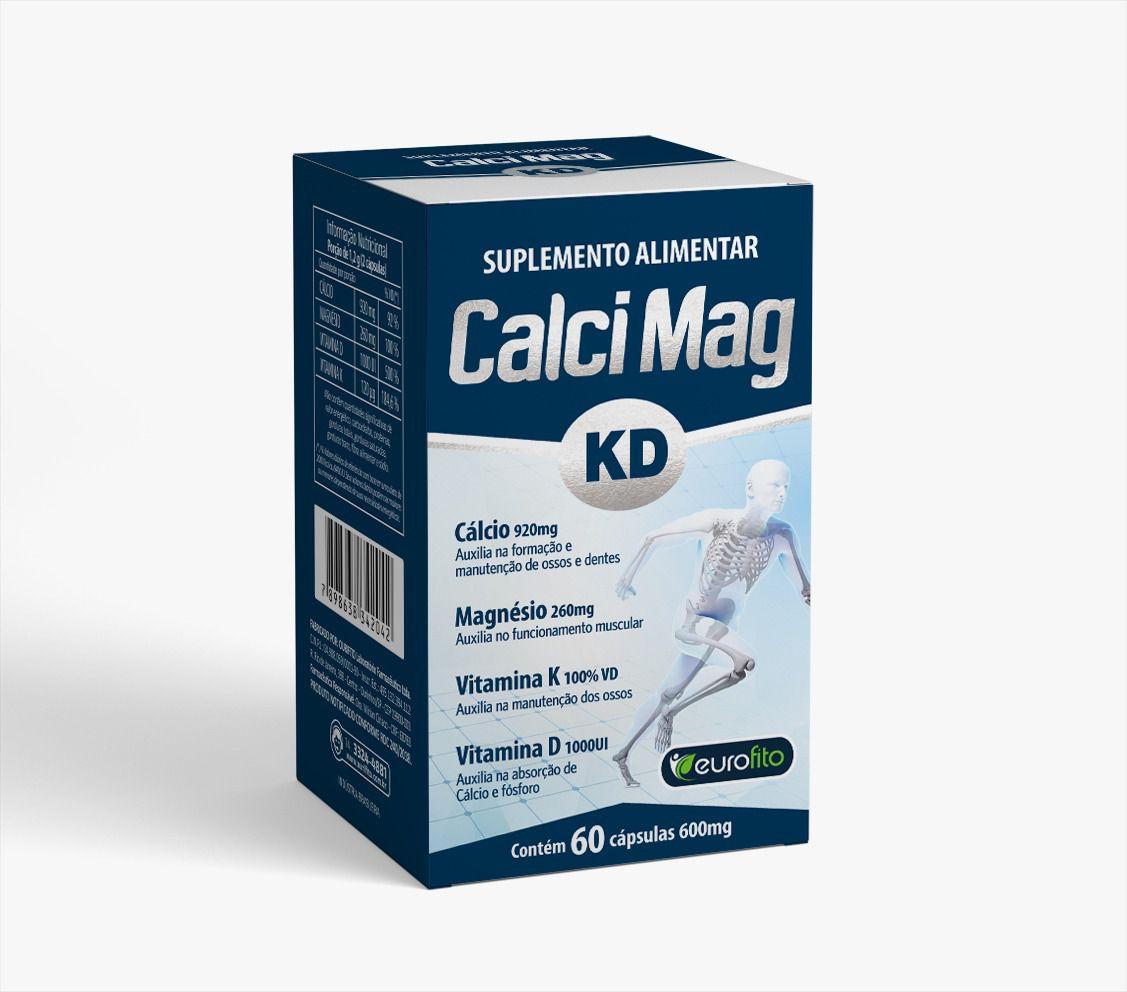 Calci Mag KD - Cálcio Magnésio Vitamina K e Vitamina D - 60 cápsulas - Eurofito