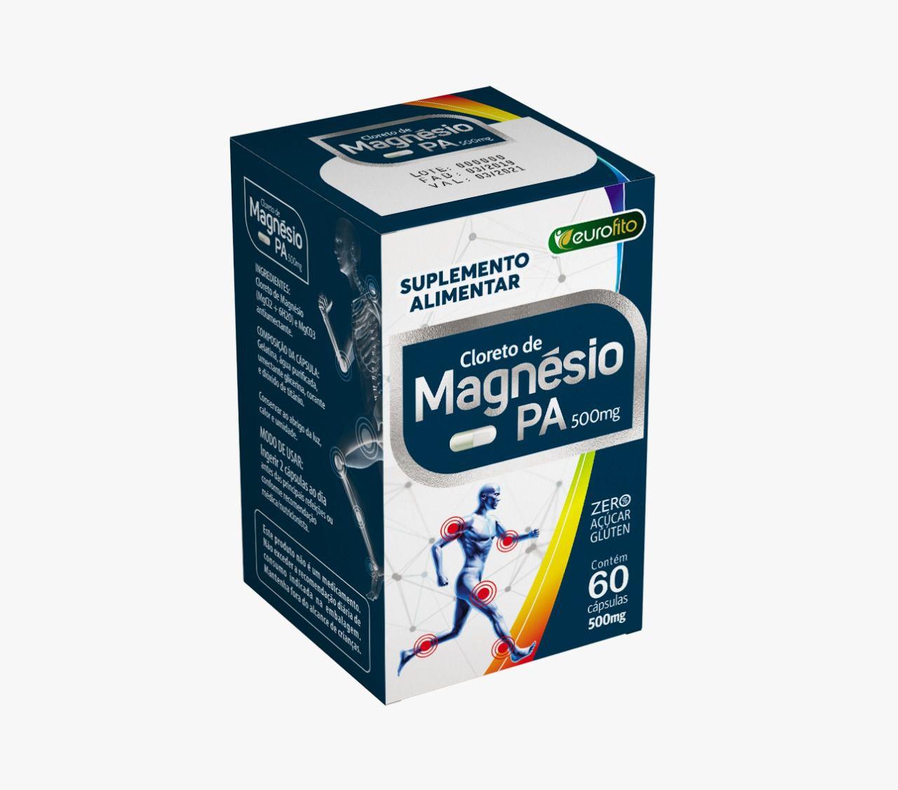 Cloreto de Magnésio PA 500mg - 60 cápsulas- Eurofito