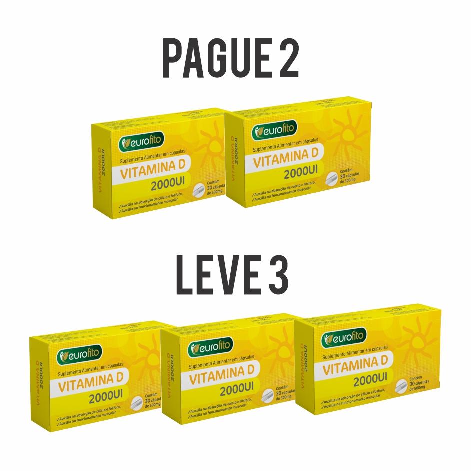 Combo Leve 3 Pague 2 - Vitamina D 2000UI 30 Cáps