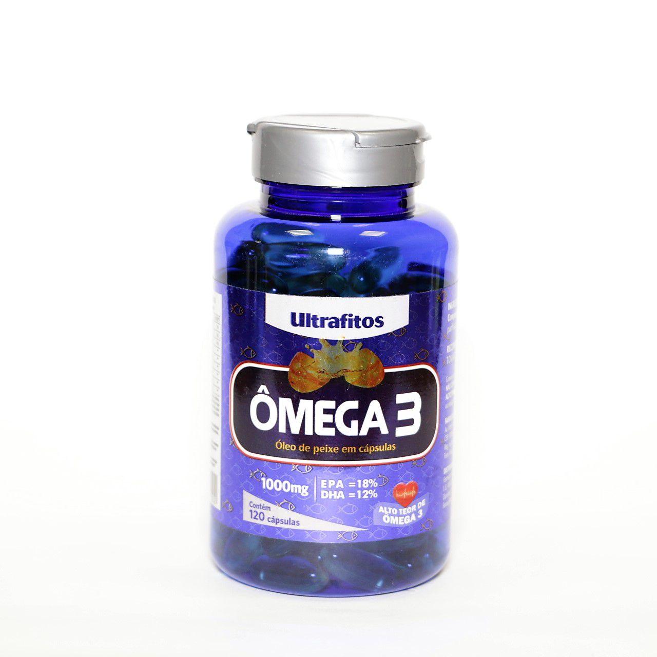 Omega 3 1000 Mg (Óleo De Peixe) - 120 cápsulas soft gel - Ultrafitos