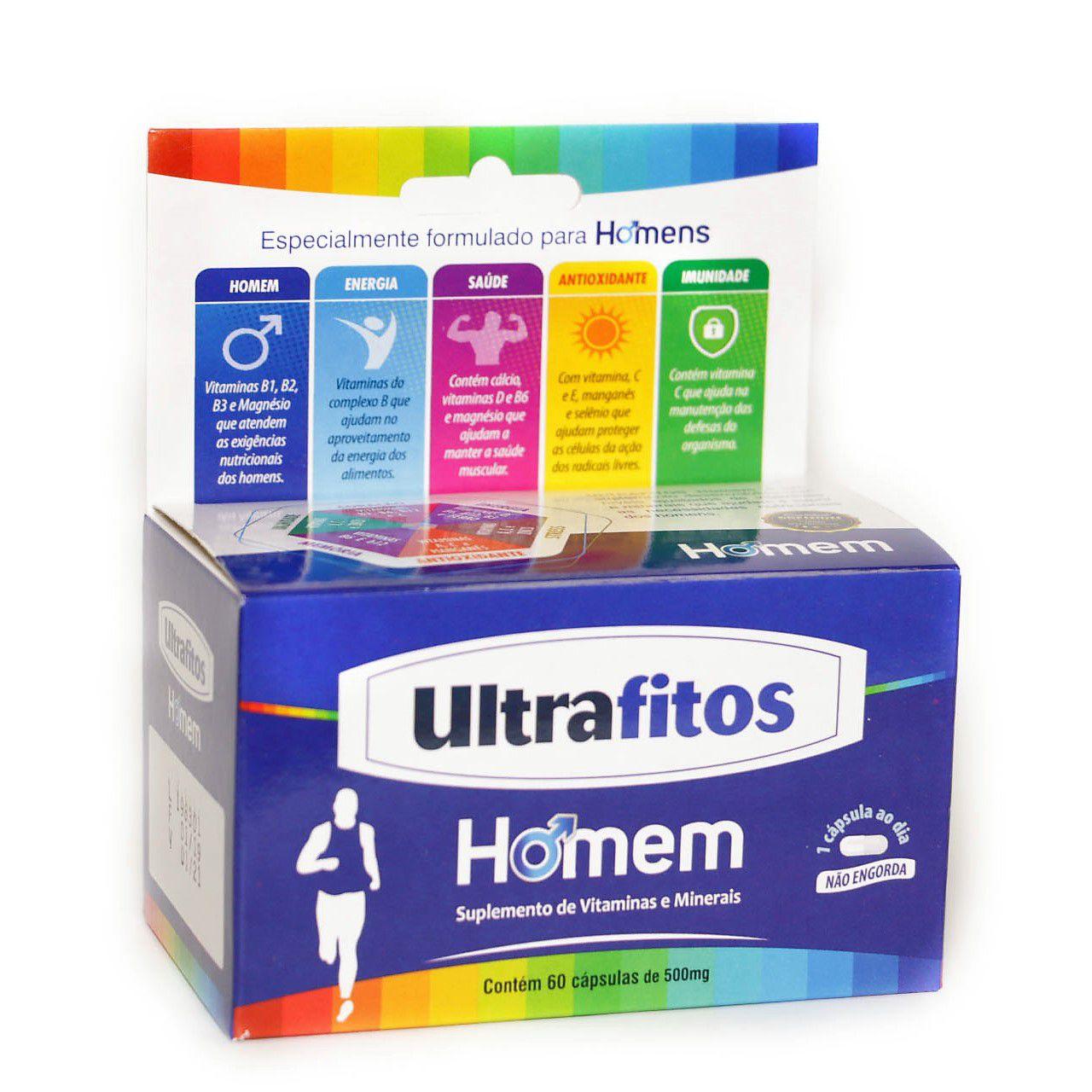 Ultrafitos Homem 500mg (Polivitamínico) - 60 cápsulas - Ultrafitos