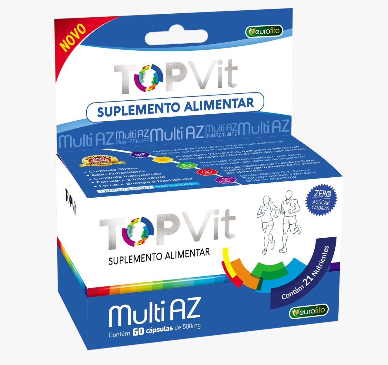 Top Vit Multi AZ 500mg (Polivitamínico)  - 60 cápsulas -  Eurofito
