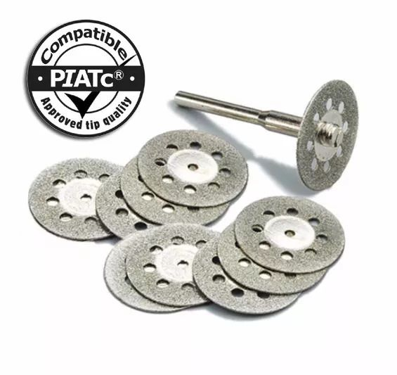 Kit 10 Discos Diamantado 22mm P/ Micro Retifica Dremel + Haste  - MRE Ferramentas