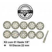 Kit 10 Discos Diamantado 22mm P/ Micro Retifica Dremel + Haste