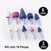 Kit 10 Peças Ponta Montada Pedra P/ Micro Retifica Dremel