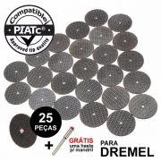 Kit 25 Disco Corte Reforçado + 1 Haste Micro Retifica Dremel