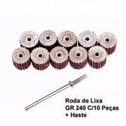 Kit Roda Lixa P/ Micro Retifica Dremel Gr240 + Haste C/10 Pcs