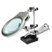 Suporte para Placa e Ferro de Solda com Lupa Iluminação LED Hikari Solver SLP-100