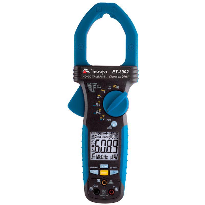 Alicate Amperímetro Digital CAT IV 600V Corrente AC/DC True RMS EF Filtro Passa Baixa Linha Viva Função Rotação de Fase Minipa ET-3902  - MRE Ferramentas