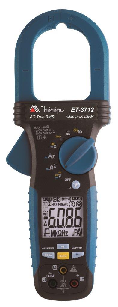 Alicate Amperímetro True RMS CAT IV 600V Minipa ET-3712  - MRE Ferramentas