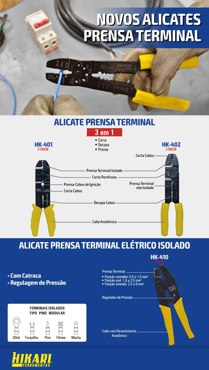 Alicate Prensa Terminal Hikari HK-401  - MRE Ferramentas