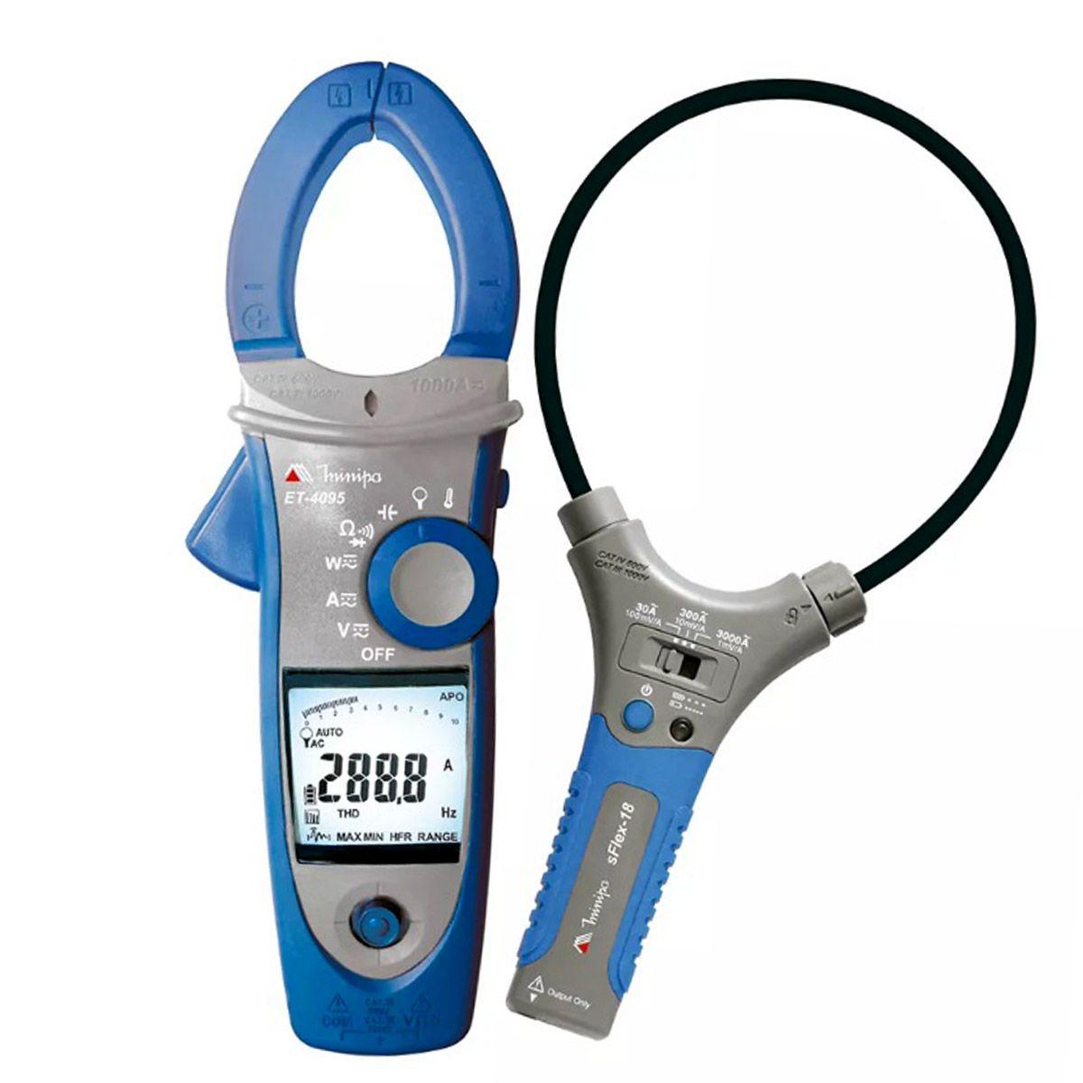 ALICATE Wattímetro Trifásico/Fasímetro CAT IV TRUE RMS 3000 A C/ NCV, INRUSH, THD Minipa ET-4095  - MRE Ferramentas