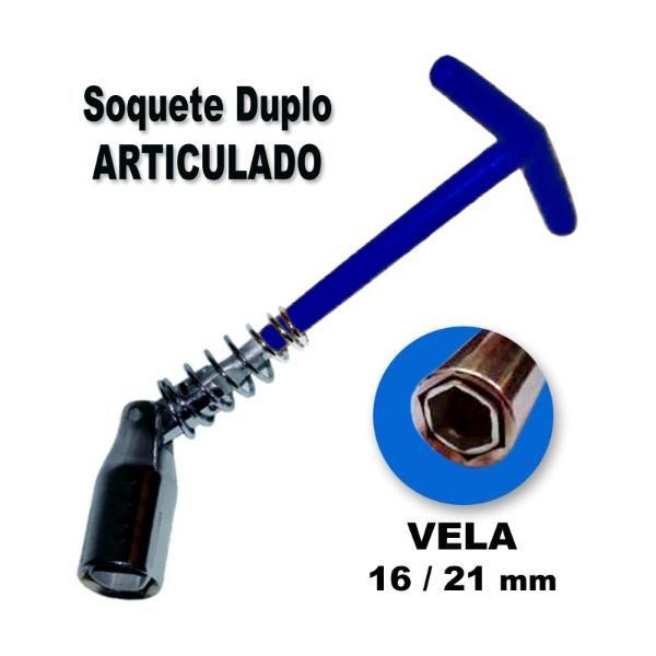 Chave De Vela 2em1 Soquete Duplo Articulado 16/21mm Snauzer  - MRE Ferramentas