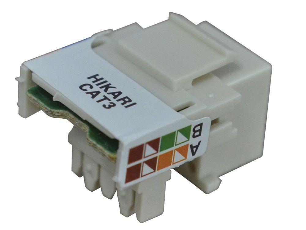 Conector Fêmea RJ11 CAT3 8x4 Hikari - Conjunto 10 Peças  - MRE Ferramentas
