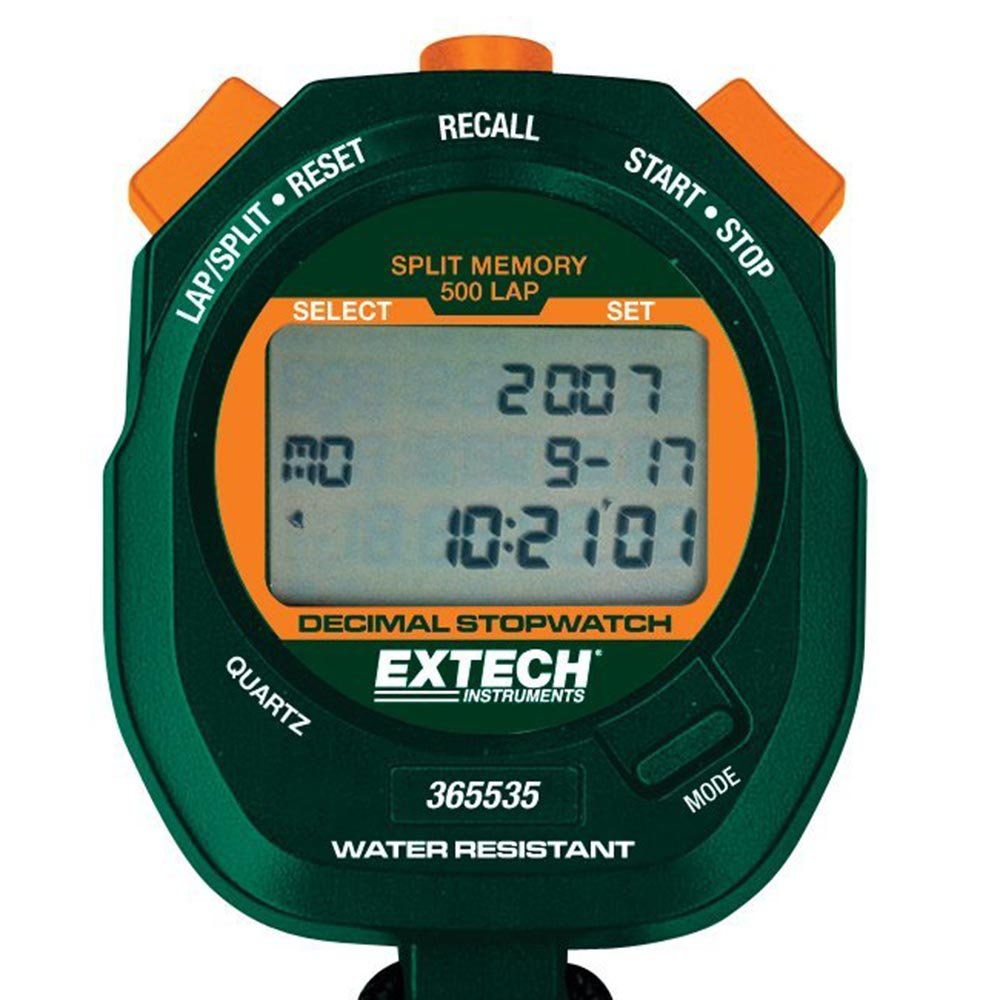 Cronômetro e Relógio Decimal a Prova de Água Extech 365535 (Refurbished)  - MRE Ferramentas