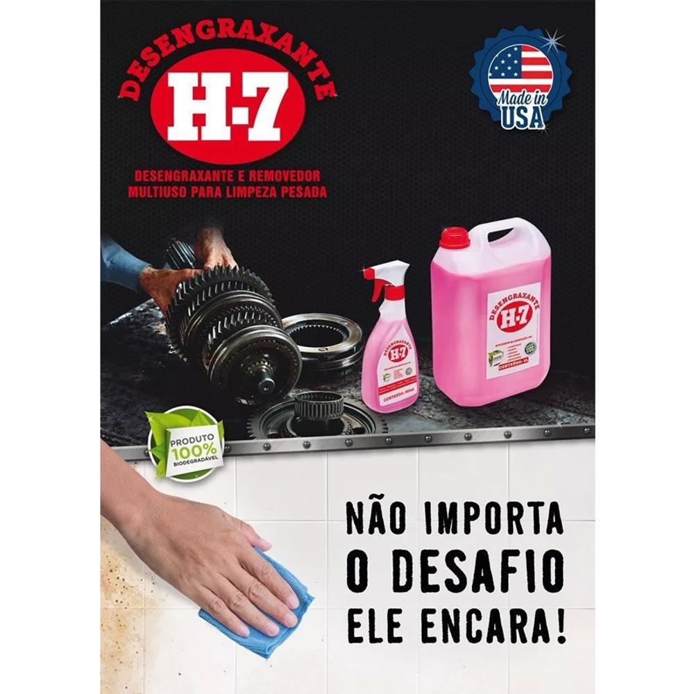 Desengraxante H-7 1 Litro - Removedor Multiuso Para Limpeza Pesada  - MRE Ferramentas