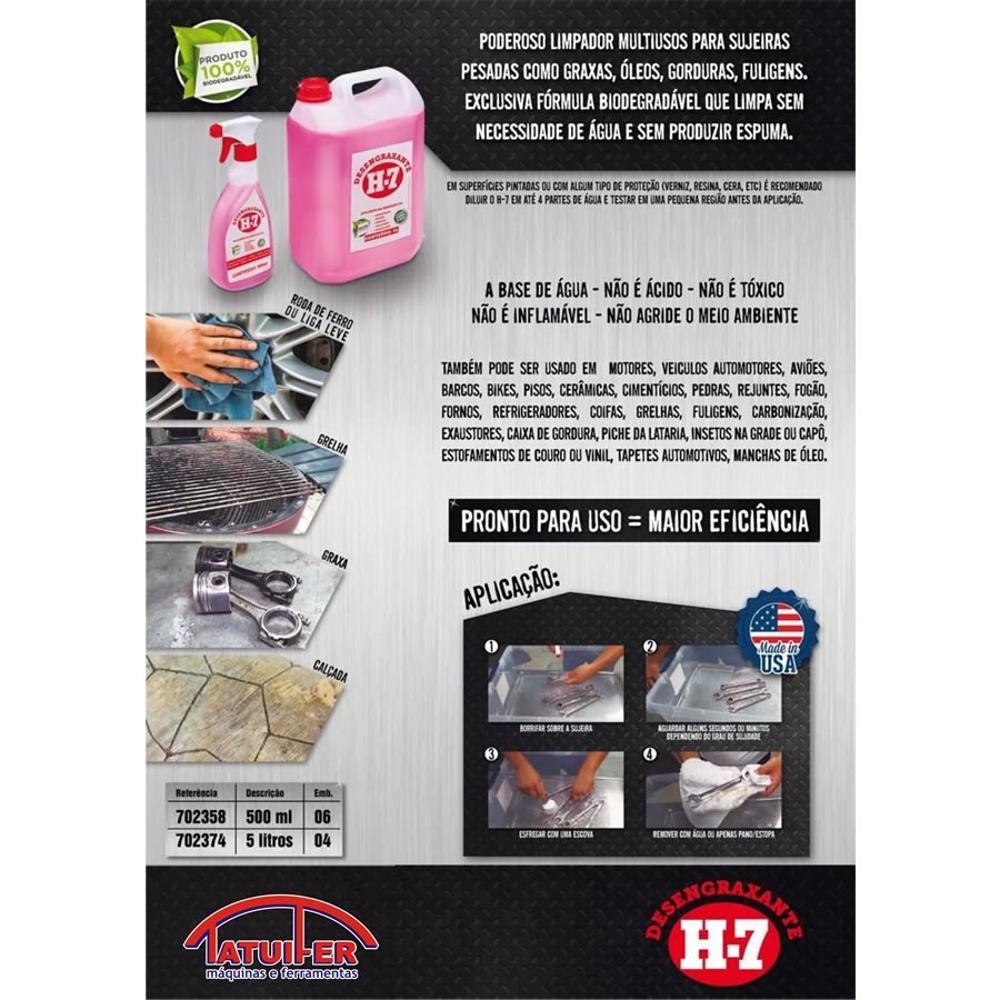 Desengraxante H-7 500ml - Removedor Multiuso Para Limpeza Pesada  - MRE Ferramentas
