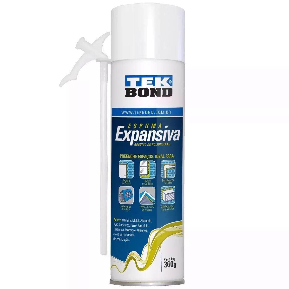 Espuma Expansiva Poliuretano TekBond 500ml (360g)   - MRE Ferramentas