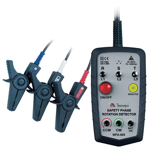 Fasímetro CAT IV (utlizado sobre o condutor isolado) Minipa MFA-845  - MRE Ferramentas