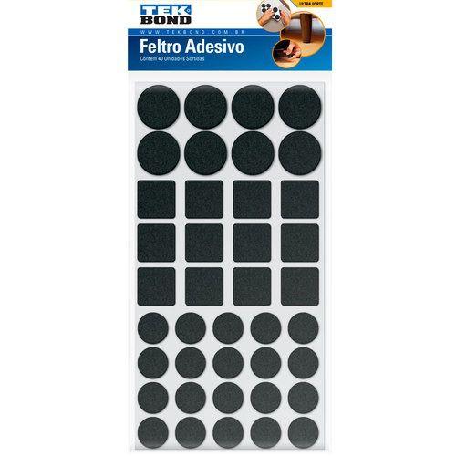 Feltro Protetor Adesivo com Formatos Sortidos Preto TekBond (40 unidades)  - MRE Ferramentas