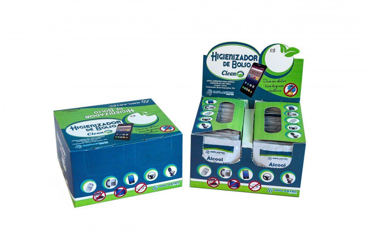 Higienizador de Bolso Clean Implastec - Caixa display com 50 unidades  - MRE Ferramentas