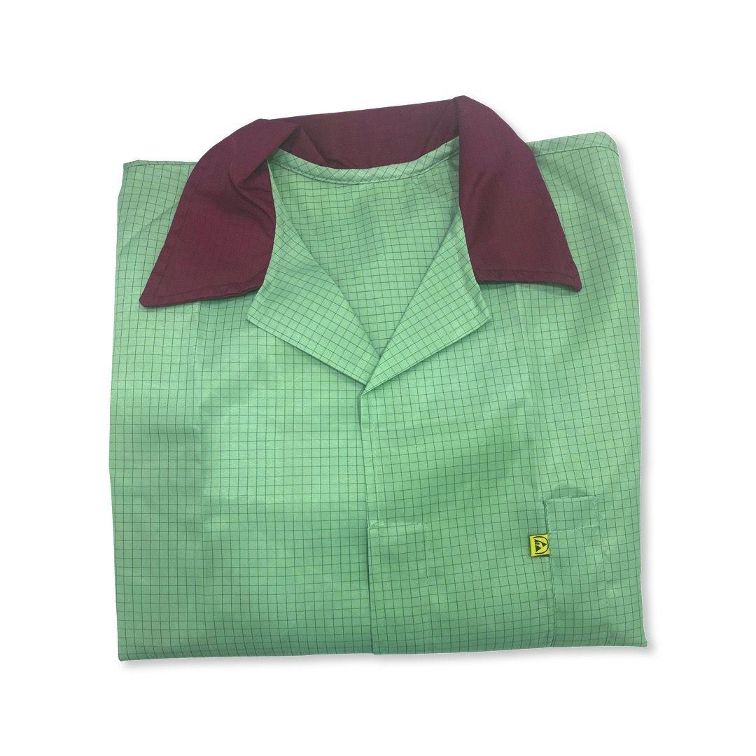 Jaleco Anti-Estático Verde (Gola Vinho)  - MRE Ferramentas