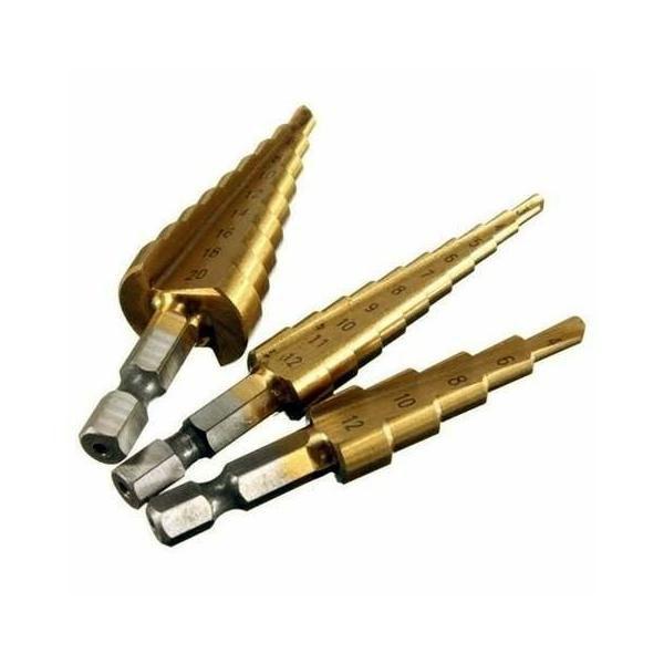 Jogo de Broca Escalonada HSS Titanium 3-20mm Kit C/ 3 Peças  - MRE Ferramentas