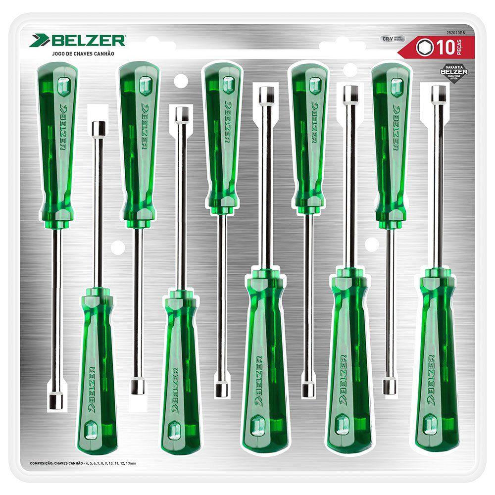 Jogo de Chaves Canhão tipo Industrial com 10 Peças de 4 a 13mm Belzer 252010BN  - MRE Ferramentas