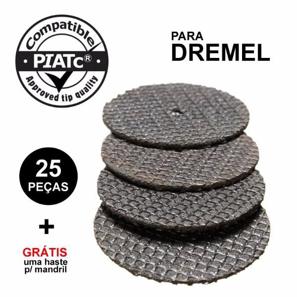 Kit 25 Disco Corte Reforçado + 1 Haste Micro Retifica Dremel  - MRE Ferramentas