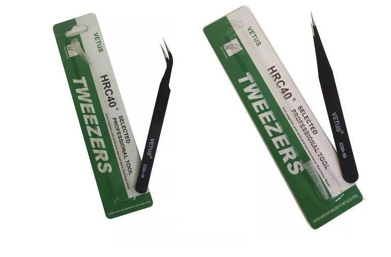 Kit 2 Pinças Antí-Estática Preta Inox Vetus (01 ESD-10 e 01 ESD-15)  - MRE Ferramentas