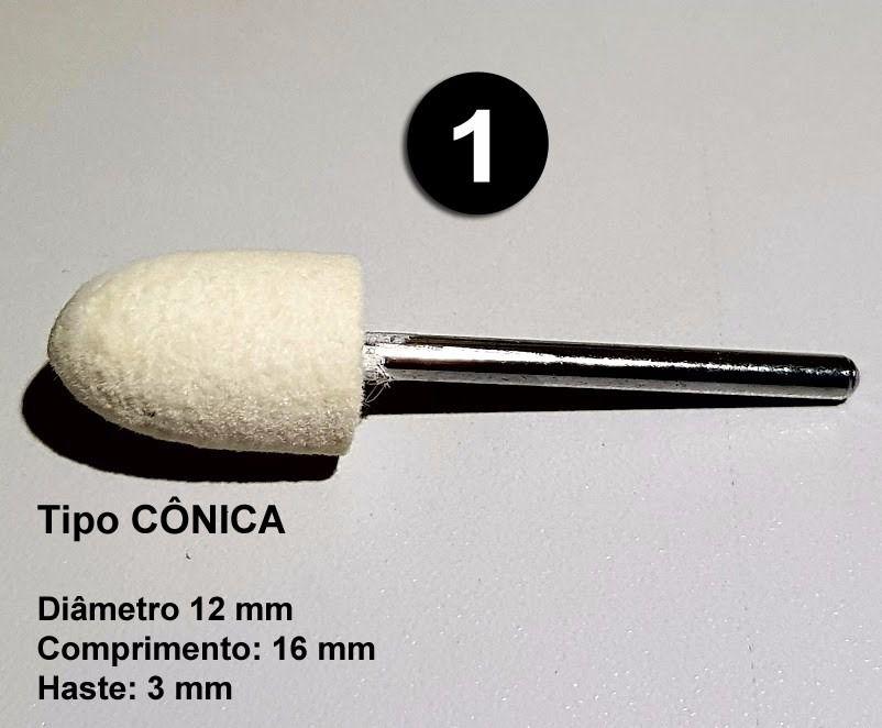 Kit 4 Pçs Ponta Polimento Lã Feltro P/ Micro Retifica Dremel  - MRE Ferramentas