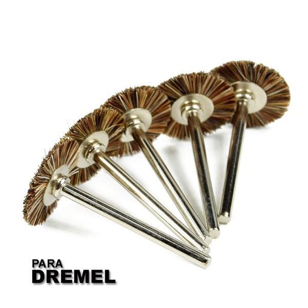 Kit 5 Escovas De Cerdas 22mm Para Micro Retifica Tipo Dremel  - MRE Ferramentas