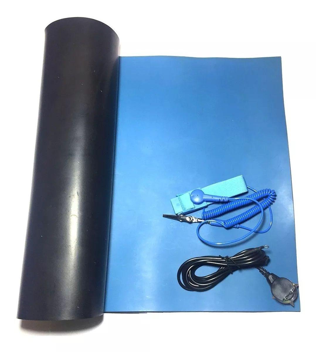 Kit Anti-estático com Manta Azul 30 x 50cm Cabo de aterramento e pulseira anti-estatica com fio  - MRE Ferramentas